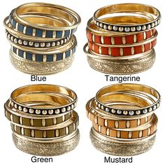 Add a bit of an exotic look to your outfit when you wear these beautiful Indian bangle bracelets. The seven bracelets in each set feature 40 rectangular-cut stones placed into goldtone bases that help to bring out the colors of the stones. Bangle Set, Bracelet Set, Bangle Bracelets, Fashion Bracelets, Fashion Jewelry, Sparkles Glitter, Gemstone Colors, Band Rings, Jewelry Watches