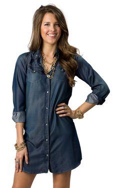 Cowgirl Hardware® Women's Iridescent Denim Long Sleeve Dress | Cavender's Boot City