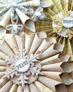 """Joyeux Noel"" Hope, Peace, & Joy Christmas Ornaments at Horchow."