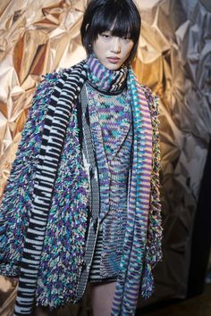 The always colourful Missoni updates its classic geometric knitwear for AW16 with metallic fringing, tactile fabrics and plenty of layers. MFW