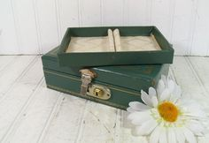 Vintage Teal Green Hard Shell 2 Piece Jewelry Box with Gold Trim - Retro Mele Style Double Level Trinkets Chest - BoHo Sea Foam Display Case $19.00 by DivineOrders