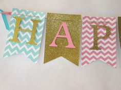 Pink, teal and glitter gold Happy birthday banner, first birthday decorations by Cresscreativecrafts on Etsy https://www.etsy.com/listing/242590810/pink-teal-and-glitter-gold-happy