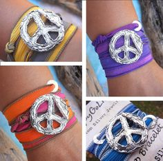 Cool Boho Fashion, Peace SIgn SIlk Wrap Bracelets by HappyGoLicky. Just CLICK now to see more!
