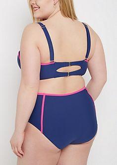 888720e93de Moxi Blu Women s Plus-Size Strappy Halter One-Piece Swimsuit