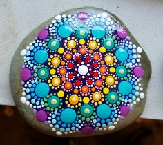 Mandala Stone ~ Painted Rocks ~ Colorful Dot Art Painting ~ Original Home Decor / Beach Stone / Rainbow Turquoise Blue Green Yellow Pink by P4MirandaPitrone on Etsy