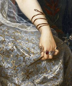 The Sorceress, detail, by Georges Merle, - Painting Classic Paintings, Old Paintings, Renaissance Paintings, Renaissance Art, Renaissance Jewelry, Aesthetic Painting, Aesthetic Art, Art Ancien, Classical Art