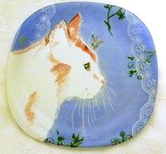 Vista Alegre Cat in Window Plate - Lace Motif - Minou-ettes - Collection Coeur 1985