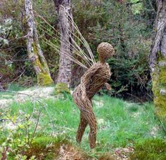 Steel and willow Fairies, Imps, Trolls, #sculpture by #sculptor Alicia Castrillo titled: 'Winged Willow Sprite (Garden Sculpture)' £1250 #art