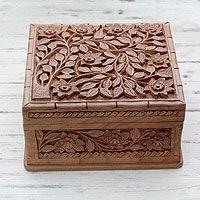 Walnut wood jewelry box, 'Srinagar Valley'