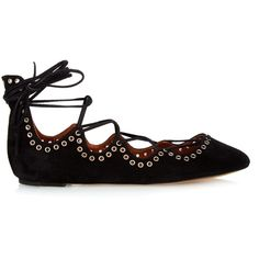 Isabel Marant Leo lace-up ballet flats ($510) ❤ liked on Polyvore featuring shoes, flats, black shoes, suede flats, ballet flats, suede ballet flats and ballet shoes