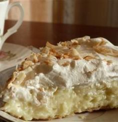yum Old Fashioned Coconut Cream Pie - Sweetened toasted coconut is stirred into a homemade custard filling and poured into a pie shell. After the pie is chilled and set, it's covered with whipped topping and more toasted coconut,, Just Desserts, Delicious Desserts, Yummy Food, Fun Food, Vegan Desserts, Old Fashioned Coconut Cream Pie Recipe, Pie Dessert, Dessert Recipes, Recipes Dinner