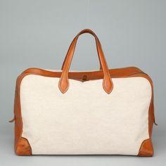 Hermes Gold Barenia Leather Toile Victoria Large Satchel Handbag AC708   eBay