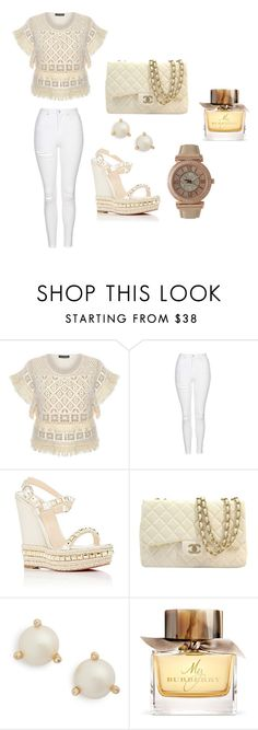 """""""Untitled #109"""" by smooney019 on Polyvore featuring Topshop, Christian Louboutin, Chanel, Kate Spade, Burberry and Olivia Pratt"""