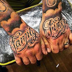 Family First Tattoo Mens Hands #familytattoosformen