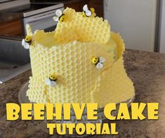 Honeycomb Cake Tutorial Beehive Cake Tutorial how to make. Great for birthday parties Relief Society birthday parties. Easy chocolate honeycomb with marshmallow fondant honeybees! Fondant Bee, Fondant Cakes, Cupcake Cakes, Fondant Figures, Cupcakes, Bee Birthday Cake, Bumble Bee Birthday, Birthday Parties, Bee Hive Cake