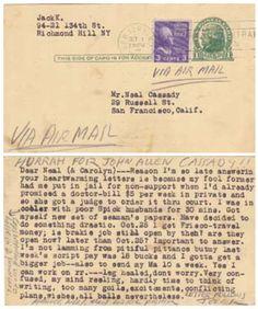 Postcard sent to Neal Cassady by Jack Kerouac
