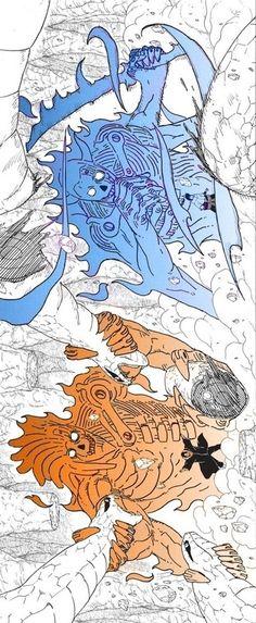 Itachi and Sasuke fighting Kabuto with Susano