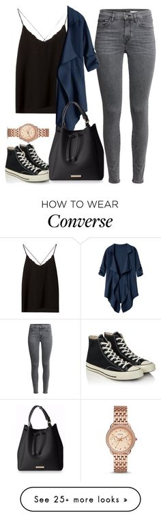 """Untitled #1358"" by blossomfade on Polyvore featuring FOSSIL, Massimo Dutti and Converse"