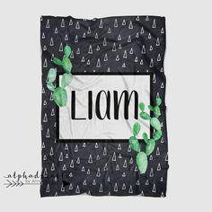 Cactus Print in black and white Minky Blanket — Alphadorable Baby Blanket Size, Minky Baby Blanket, Baby Cactus, Black And White Baby, Personalised Prints, Personalized Baby Blankets, Nursery Art, Nursery Decor, Room Decor