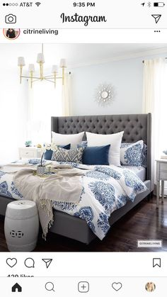 Gorgeous blue and white bedroom featuring blue and white bedding paired with global inspired textiles, grey upholstered bed and brass accents and lighting bring a bright and airy look to any bedroom. Blue and Gray Bedroom Blue Master Bedroom, Blue Bedroom Decor, Master Bedrooms, Bedroom Colors, Master Suite, Light Blue Bedrooms, Modern Bedroom, Rustic Grey Bedroom, Funky Bedroom