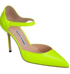 """Manolo Blahnik """"Norvany"""" Patent leather pointed toe mary jane pump with button ankle strap. #Manoloblahnik"""