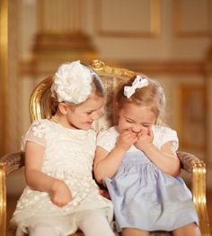 """New photos of Princess Estelle and Princess Leonore   29 May    Princess Madeleine posted photos on her Facebook page taken the day of the baptism of Prince Oscar: """"My sister and I are blessed as a small two adorable daughters of mothers who adore."""""""