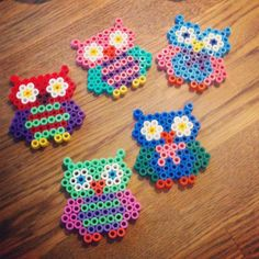 Colorful owls perler beads by visual_me