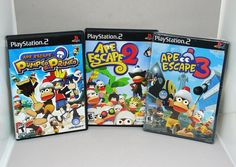 PS2 Games Ape Escape Pumped & Primed Plus  2 and 3 Still Sealed Playstation 2  #SonyPlaystation