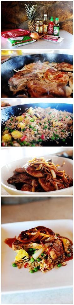 Schweinekoteletts mit Ananas Gebratener Reis