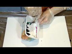 Fluid-Art: BIG RECTANGULAR container. Experimental: Zebra Style. Acrylic...