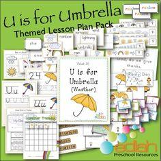 U is for Umbrellas (Weather) Themed Lesson Plans (one week) edlah.com #preschool #lessonplans #curriculum