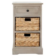 Vintaged grey wood accent table with two wicker basket drawers. Product: Accent tableConstruction Material: Pine...