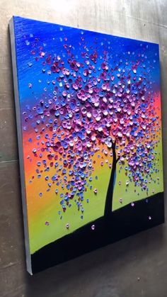 Texture Painting On Canvas, Canvas Painting Tutorials, Oil Painting Flowers, Painting Videos, Easy Canvas Art, Wow Art, Flower Art, Daily Schedules, Rainbow Painting