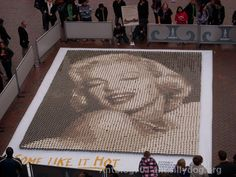 Marilyn Monroe Art made from different colors of Coffee in Coffee Cups!