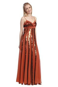 Orange Long/Floor-length Chiffon Sequins Sparkly Prom Dress PD127A