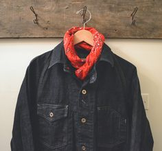Post Overalls Engineers Jacket in 5oz Japanese Denim Journal Standard Bandana Scarf