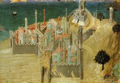 Sassetta, City by the Sea (view of Talamone), (c.1340), Siena, Pinacoteca, formerly attributed to Ambrogio Lorenzetti  http://www.travelingintuscany.com/art/sassetta.htm
