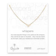 Dogeared Gold Dipped Whispers Necklace with Bow Charm