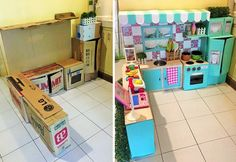 ad diy cardboard kitchen recycle for your toddler 01 Diy Kids Kitchen, Kitchen Sets For Kids, Mini Kitchen, Toy Kitchen, Toddler Kitchen, Cardboard Kitchen, Cardboard Toys, Cardboard Playhouse, Cardboard Furniture