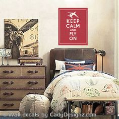Keep Calm and Fly On Vinyl Wall Decal - Airplane Nursery Decals - Aviation Decor - Keep Calm Poster Decal - Plane Wall Sticker - 11x14