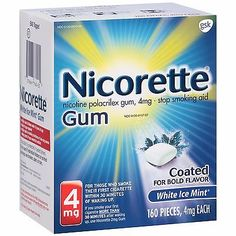Gum and Lozenges: Nicorette Stop Smoking Aid Nicotine Gum, White Ice Mint Flavor, 4Mg, 160 Pieces -> BUY IT NOW ONLY: $43.56 on eBay!