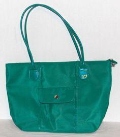 Purse-Tote-Handbag-Green-Polyester-Unbranded-Zippered-Matte-Shiny-2-Handles