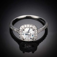 Engagement Band Round Cut CZ Crystal White Gold Filled Rings Wedding Jewelry.