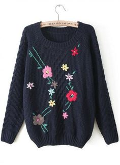 Buy Navy Long Sleeve Embroidered Cable Knit Sweater from abaday.com, FREE shipping Worldwide - Fashion Clothing, Latest Street Fashion At Abaday.com Knit Fashion, Fashion Outfits, Embroidered Clothes, Vintage Embroidery, Diy Dress, Cable Knit Sweaters, Street Fashion, Knitwear, Knit Crochet