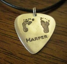 Silver Guitar Pick Shaped Baby Footprint Pendant with YOUR Child's footprints - New Dad Present.