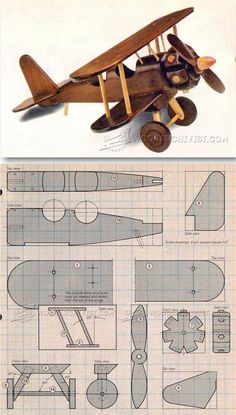 Wooden Airplane Plans - Children's Wooden Toy Plans and Projects   http://WoodArchivist.com #woodentoy