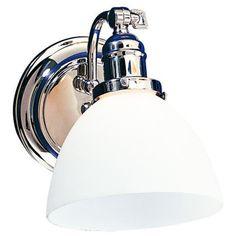 Morgan Polished Chrome White Glass Adjustable Wall Sconce -