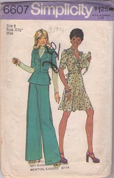 MOMSPatterns Vintage Sewing Patterns - Simplicity 6607 Vintage 70's Sewing Pattern FAB Retro Secretary Petite Wing Collared Peplum Jacket Top, Flared Dress, Wide Leg Pants