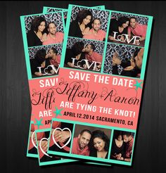 Making some save the date samples for turquoise and coral wedding! <3