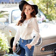 dabuwawa puff sleeves white bow blouse